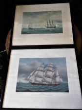 PAIR VINTAGE FRAMED GLAZED PRINTS HANSON FANNY & PETERSON NEPTUNE CONNECTICUT